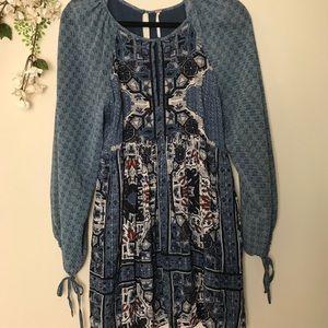 Free People Boho Long Sleeved Blue Mini Dress 0